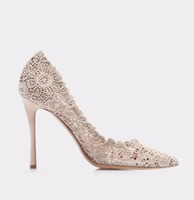 Custom new product high heel embroidery women bridal wedding shoes