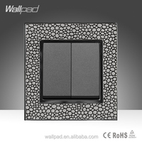 New Design Wallpad Luxury Pearl Leather UK Standard Two Gang One Way Electric Wall Switch