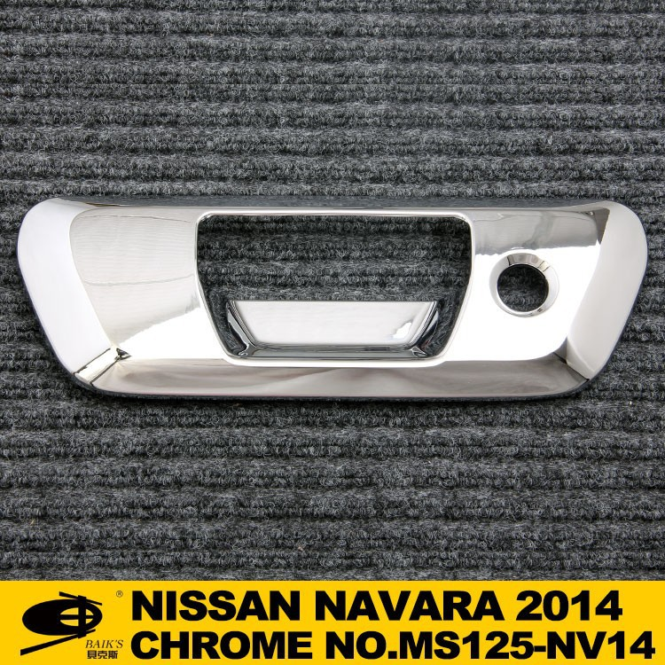 Chrome TAIL GATE COVER REAR HANDLE INSERT HOLE forNISSAN NAVARA 2014 chromed car accessories