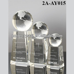 3Sizes Optic Crystal Globe Trophy with Top Base