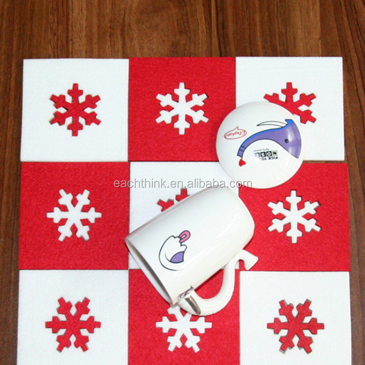 Square Red Christmas Snowflake Felt Heat Insulation Cup Bowl Mats