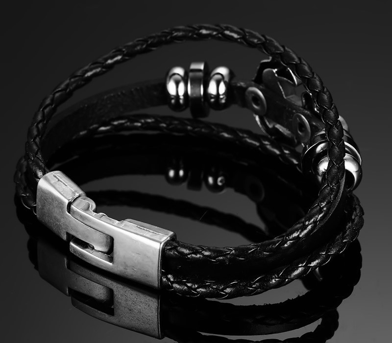 Mens Vintage Genuine Leather Anchor Braided Stainless Steel Bracelet
