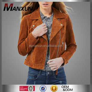 Lady's classic fashion tan suede jacket