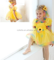 MB0824 Child beautiful lovely party leotard yellow ballet tutu ruffles dress