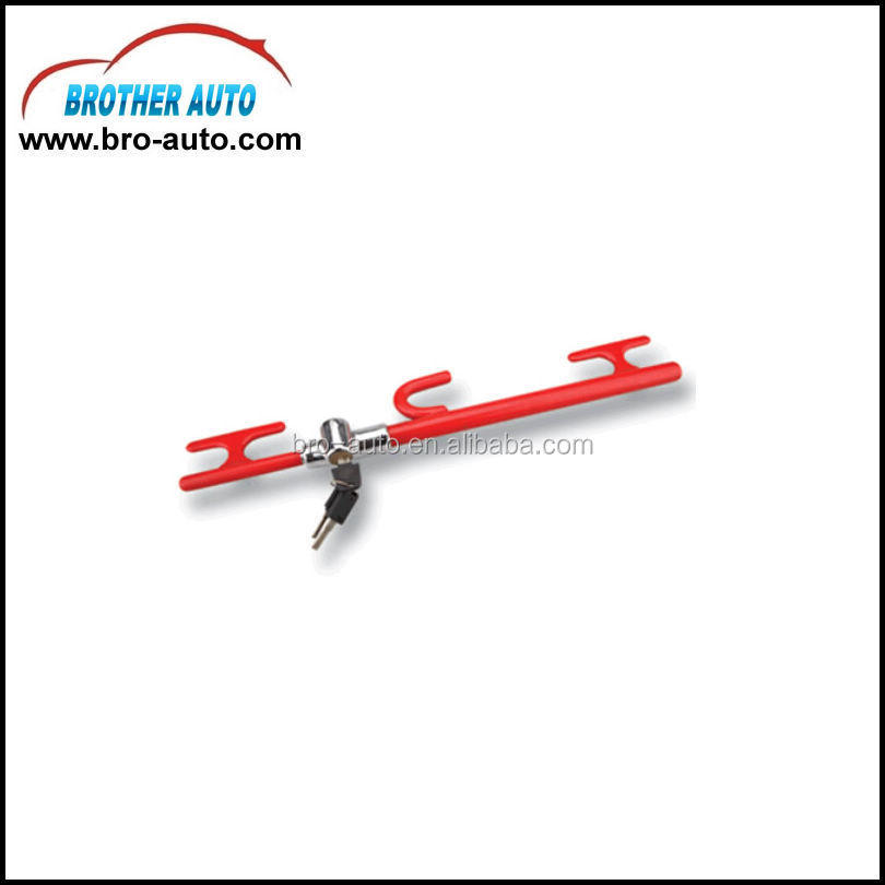 High quality stainless steel standard size 3key car steering wheel lock with CE steering wheel combination lock
