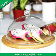 2014 glass/vitreous cheese/cake/pizza Dome with bamboo board