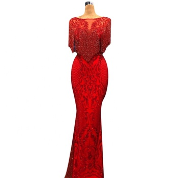 Luxury Red Evening Dress Women O Neck Beading Party Dress Mermaid Prom Dress Long Evening 2019