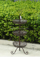 rustic antique 3 tier metal fruit home goods wire flower pot stand