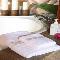 China supplier white cotton hand towel with dobby