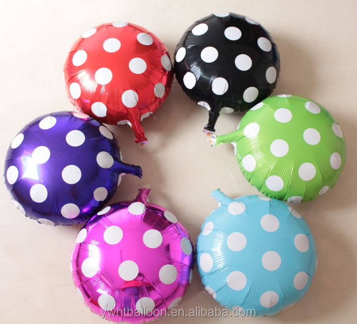 18inch self inflating spot round foil balloon promotional for party / activity/event decoration