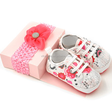 Personalized Baby Shoes and hairband set new styles Factory wholesale chiffon flower cute baby shoes headband for baby