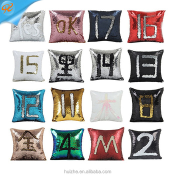 Magic Color Changing Reversible Sequin Material Mermaid Sequin Throw Pillow Covers 40x40cm