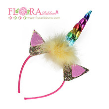 2018 Hot sale rainbow unicorn horn hair accessories kids headbands for party