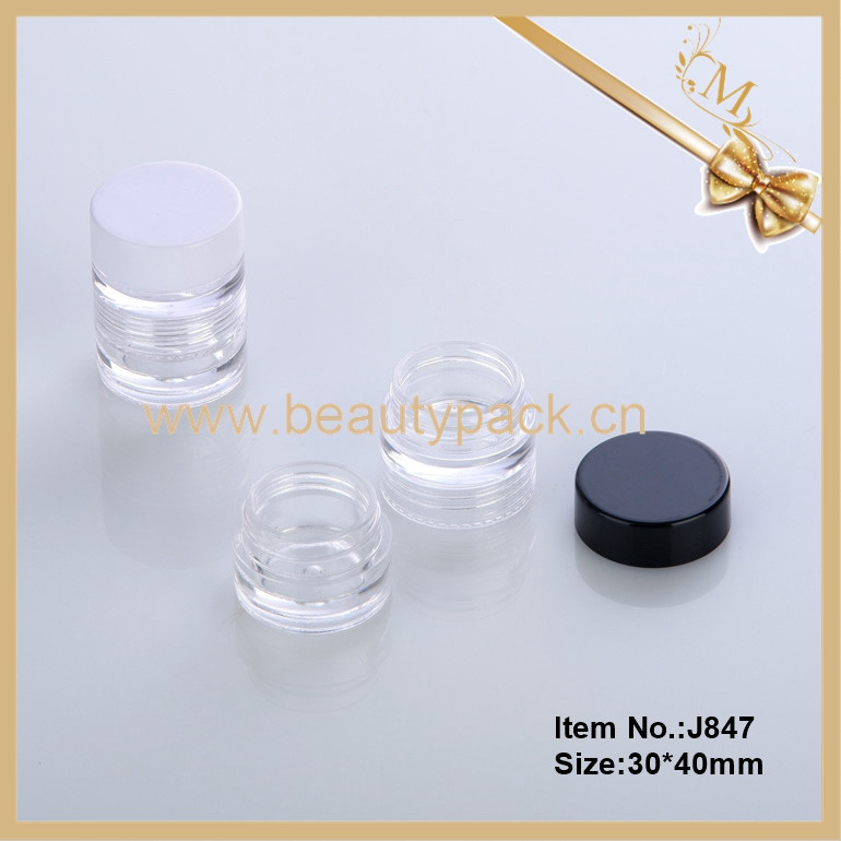 Hot sale transparent round empty two set plastic cosmetic jar