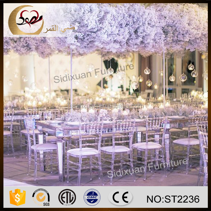 Foshan mirror glass top rectangle wedding dining table in hotel