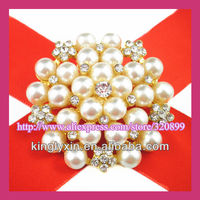 Hot Sale !45mm Gold Wedding Bridal Rhinestone Brooch,Party Dress Pin.Pin for Chair Cover ,Bouquet ,Costume and Invitation lx-c77