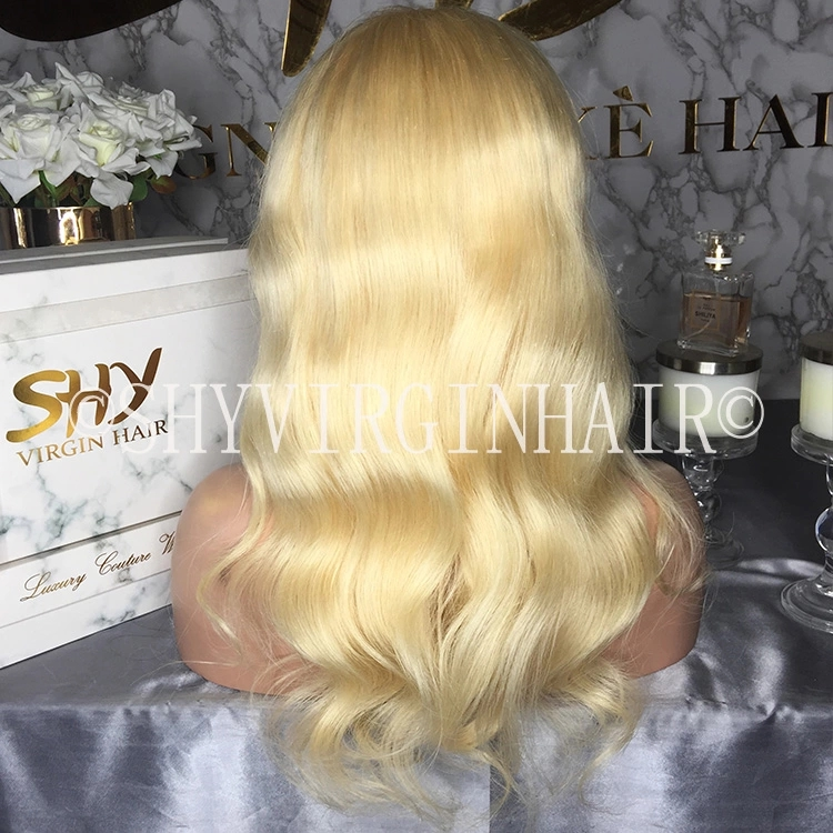 Short Wavy 613 Blonde Wig Glueless Full Lace Human Hair Wigs with Baby Hair Bob Cut Lace Wig