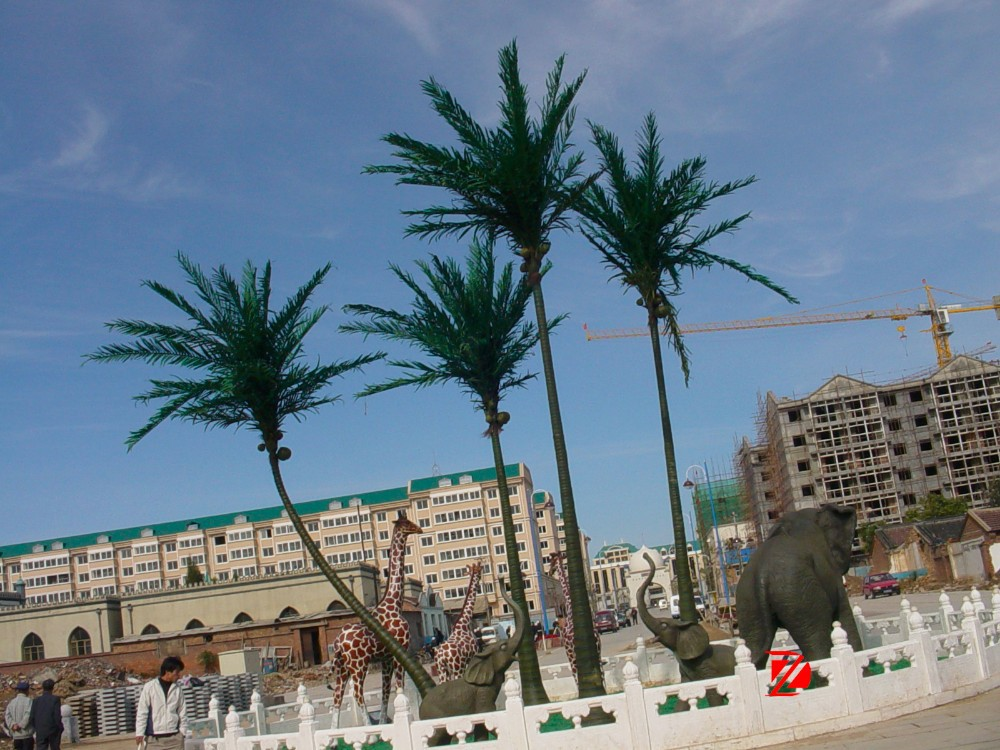 Coconut tree giraffe and elephant fiberglass sculpture