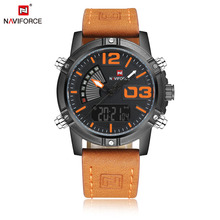 9095 NAVIFORCE brand sport date watches japan double movement leather strap wristwatch high quality watch 30m waterproof