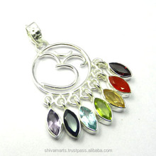 Forever silver jewelry 925 sterling silver garnet multi gemstone chakra dharma pendant