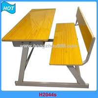 middle school wooden attached school desk and chair for 2 students