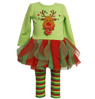 2015 new childrens boutique christmas outfit girls