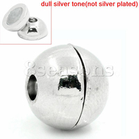 Cheap Silver Tone Ball Magnetic Clasps 12x11mm,5 sets