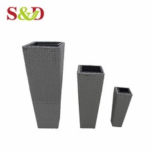 China supplier hydroponic growing systems gray pe rattan cheap and beautiful square woven garden flower pots