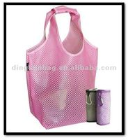 mesh shopping tote bag with rounded handles