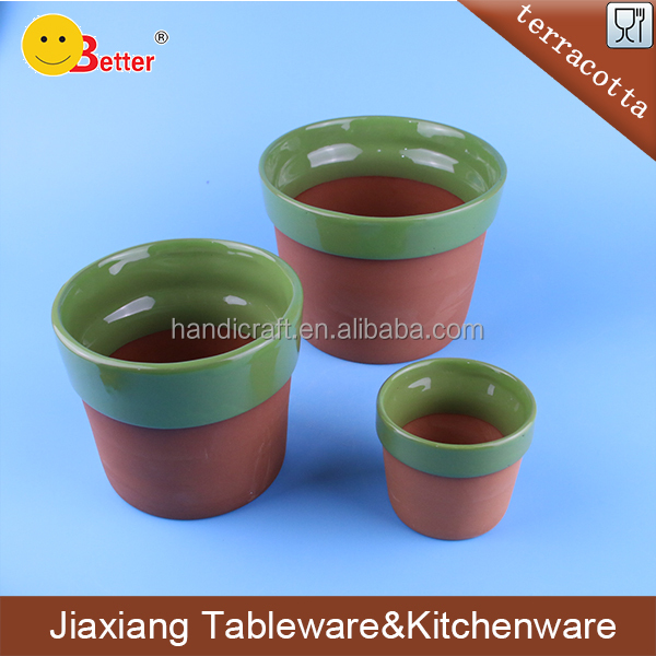 round shape top glazed and bottom unglazed terracotta pots