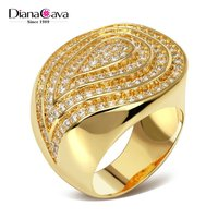 New Design Promotion Big Statement Design Party Luxury CZ Finger Ring for Women
