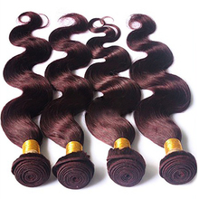 Cheap Wholesale Burgundy Red Body Wave Alibaba Hand Tied Weft Human Hair Weavon Extension