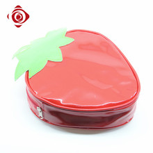 Sweet design young girls small strawberry shape unique cosmetic makeup bag