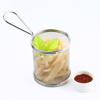 Mini Deep Fry Serving Basket Stainless Steel table serving basket Wire mesh small round chip serving basket F0053