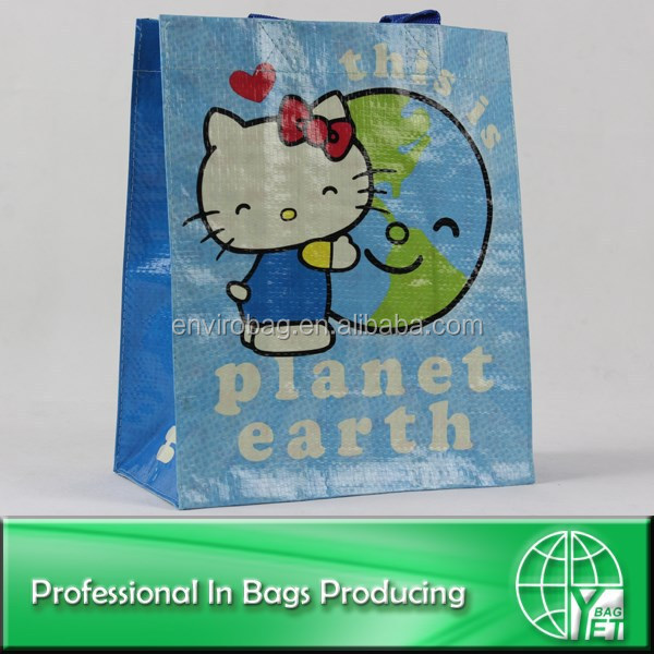 100% Recycled Material pp woven cartoon kids bag