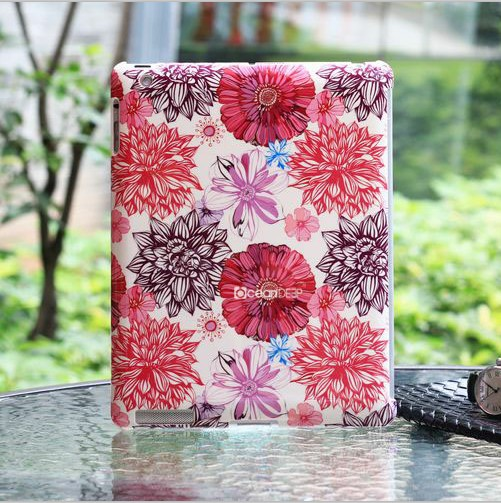 Artificial flower design custom water transfer printing case for apple tablet ipad 3 motherboard smart cover case