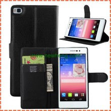 Fashion Litchi Style PU Leather Wallet Flip Case For Huawei P8