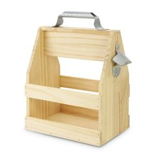 Wholesales handcrafted handmade natural color pine wood beer caddy with bottle opener