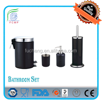 carbon steel in black powder coating 4 pcs bathroom accessory set