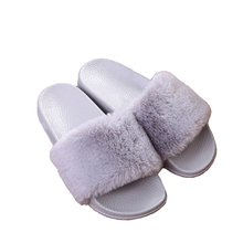 Wholesale Custom Cheap Pink New Fashion Indoor Outdoor Antiskid Slippers Faux Fur Women Slippers Slider In Stock