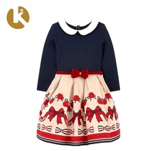 2018 New Design Lovely <strong>Girl's</strong> Embroidered Lapel Long Sleeve <strong>Dress</strong> With Cute Doll Collar