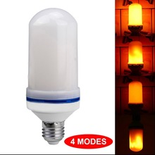 LED Flame Effect Fire Light Bulb with 4 Modes <strong>w</strong>/Gravity Sensor, Ambient Simulation, Gas Lamp, Flicker Up &amp; Down
