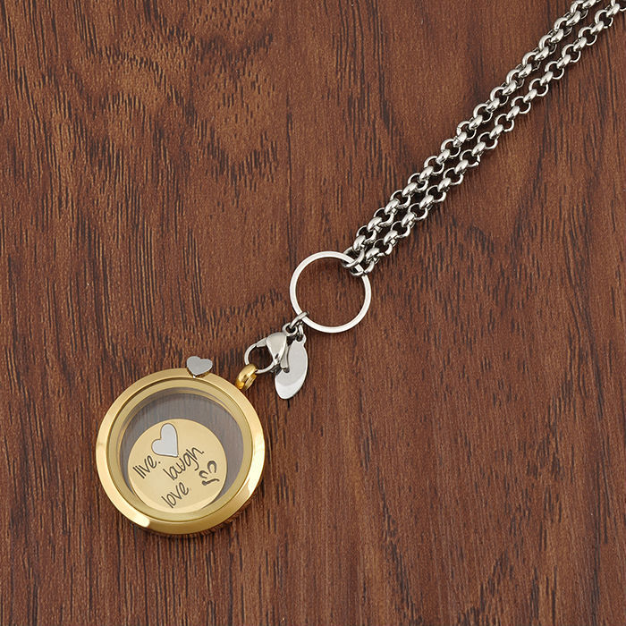 2018 Trending Products Innovative Heart Charm Gold Glass Memory Locket