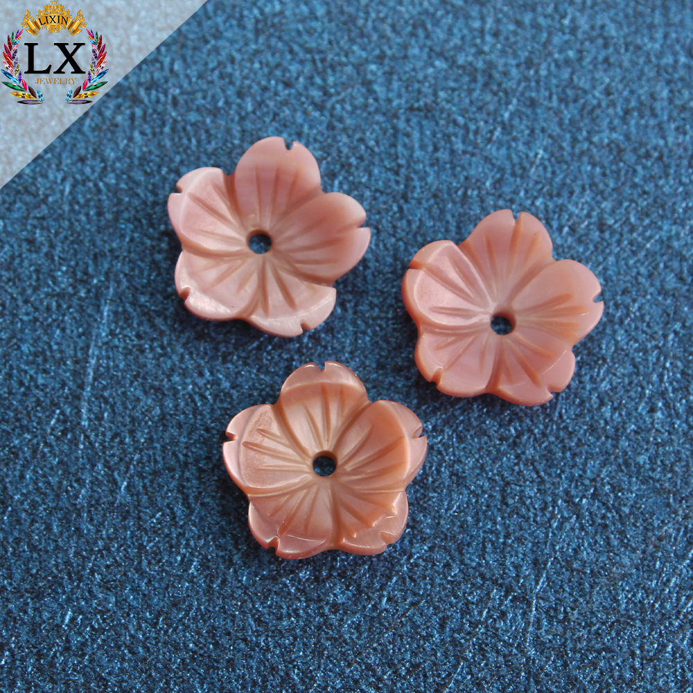 SLX-00042 wholesale high quality pink flower shape engrave shell 11mm half drilled loose carved shell flower beads