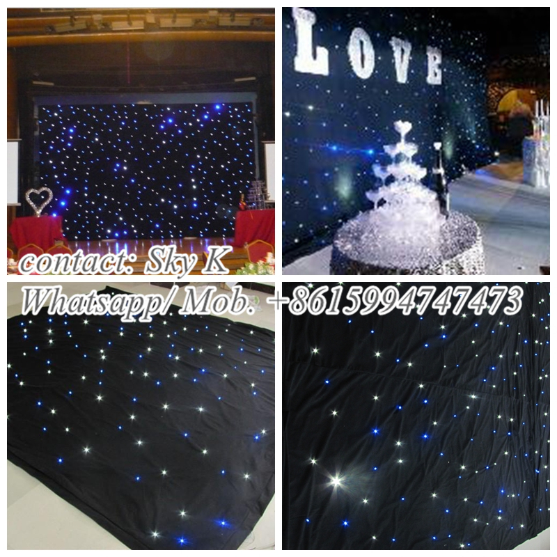 hot black fireproof velvet cloth rgb 3 in 1 leds vision curtain backdrop flexible led star cloth in led stage lights