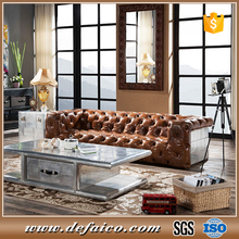 Luxury Aviator Used Chesterfield Brown Leather Sectional Sofa