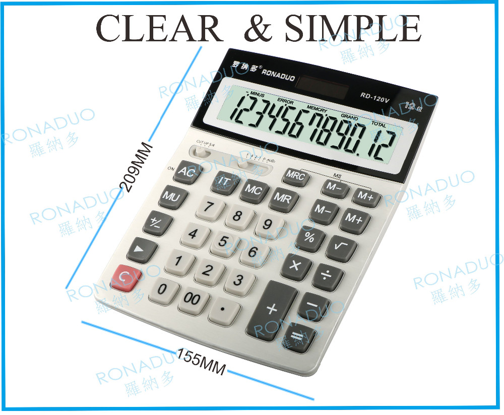 promotional two memory desktop 12 digit solar mini calculator