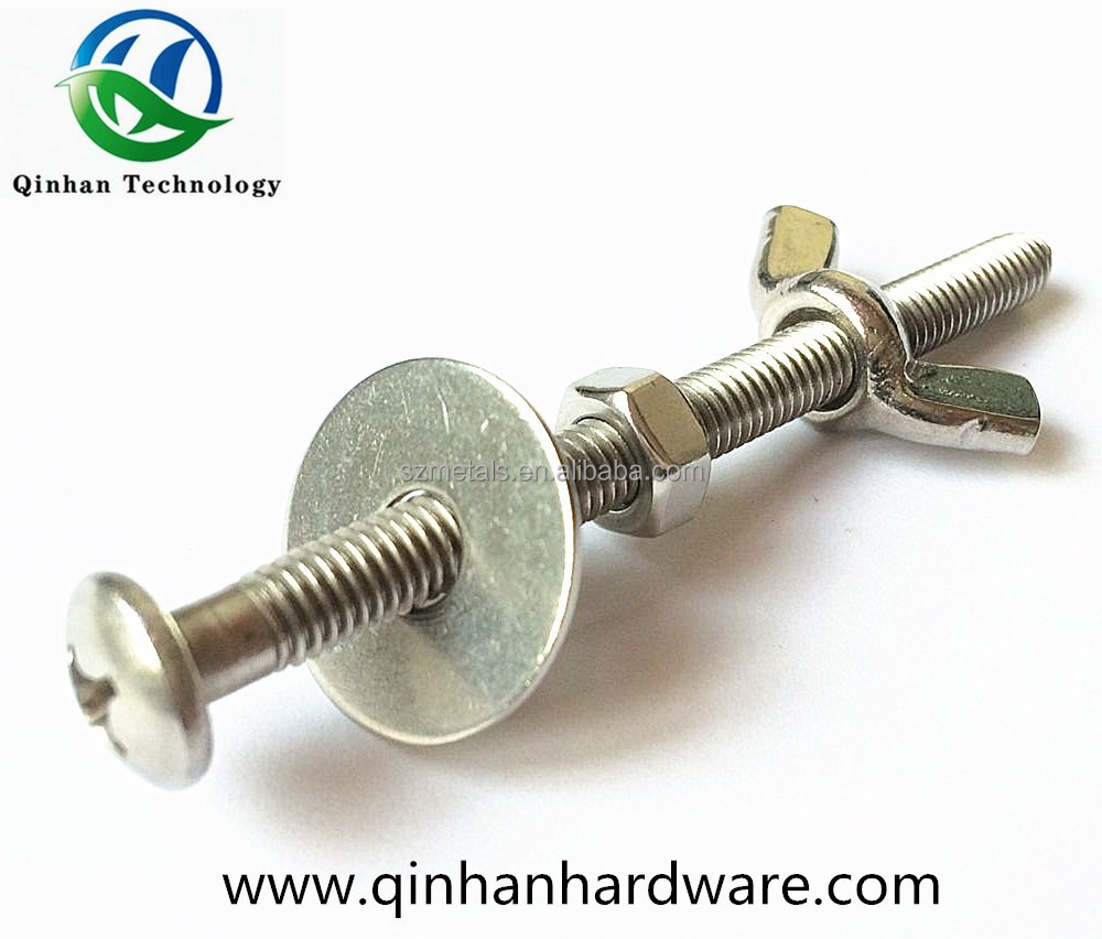 Pan head cross recessed machine screw with butterfly hex nut