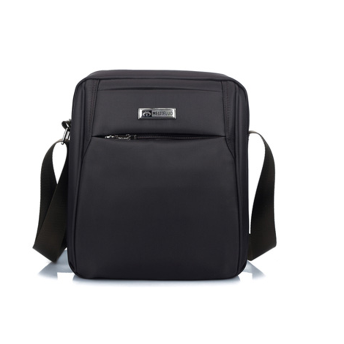Black Polyester Message Shoulder Bag with Metal Plaque For Men