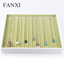 FANXI High Quality White Lacquer Green Velvet Insert Shop Counter Jewelry Display Bracelet Holder Tray Bracelet Jewelry Tray